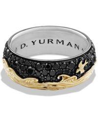 David Yurman - Waves Band Ring With 18k Gold & Black Diamonds - Lyst