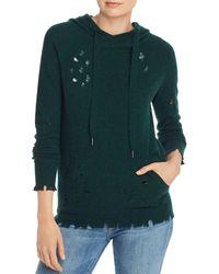 Aqua Cashmere Distressed Cashmere Hooded Sweater - Green