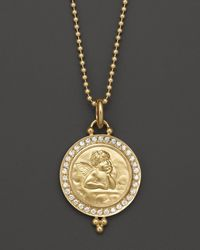 Temple St. Clair 18k Gold 16mm Angel Pendant With Diamond Pavé - Metallic