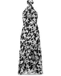 MILLY Silhouette Floral Halter Midi Dress - Black