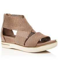 Eileen Fisher - Perforated Nubuck Leather Sandals - Lyst