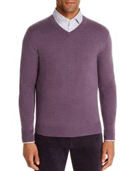 Bloomingdale's Cashmere V - Neck Sweater - Purple