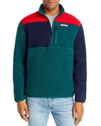 Vineyard Vines Colour - Block Sherpa Half - Zip Fleece - Green