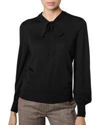 L.K.Bennett - Ester Merino Wool Tie-neck Sweater - Lyst