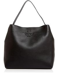 5834c5e040e31 Tory Burch Mcgraw Small Carryall Hammered Leather Bag in Black - Lyst