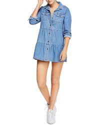 0da36931eb4 Lyst - Free People Nicole Denim Shirt Dress in Blue