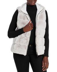 Via Spiga Reversible Grooved Faux Fur Vest - Gray