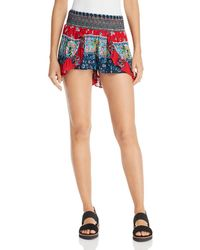 Aqua - Smocked Ruffled Shorts - Lyst