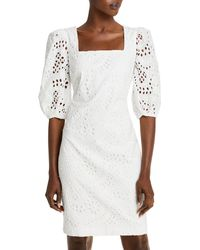 Eliza J Balloon Sleeve Eyelet Dress - White