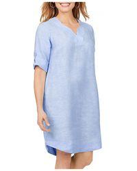 Foxcroft Harmony Non Iron Linen Dress - Blue