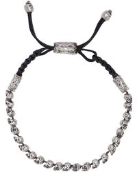 John Varvatos Skulls & Daggers Sterling Silver Skull Bead Adjustable Bracelet - Metallic
