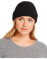Aqua Ribbed Cuff Hat - Black