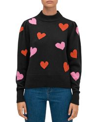 Kate Spade Hearts Mock Neck Sweater - Black