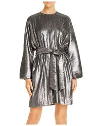 Anine Bing Angie Balloon - Sleeve Matte Sequin Dress - Multicolor
