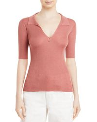 Lanvin Ribbed Knit Polo Top - Pink