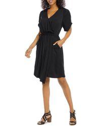 Karen Kane Faux Wrap Dress - Black