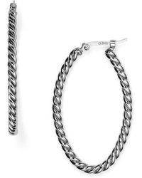 Bloomingdale's - Sterling Silver Twisted Oval Hoop Earrings - Lyst