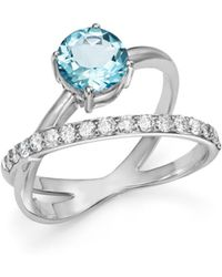 Bloomingdale's - Aquamarine & Diamond Crossover Ring In 14k White Gold - Lyst