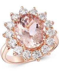 Bloomingdale's Oval Morganite & Diamond Classic Ring In 14k Rose Gold - Multicolour