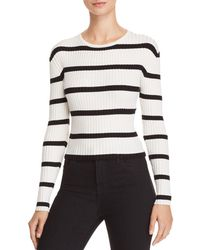 Olivaceous Striped Ribbed Cropped Jumper - White