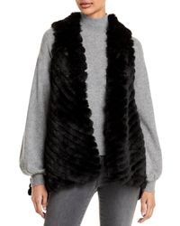 Jocelyn Striped Faux Fur Asymmetric Vest - Black