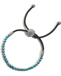 John Hardy - Men's Sterling Silver Classic Chain Round Beads Bracelet With Turquoise - Lyst