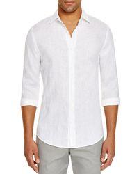 Bloomingdale's Linen Regular Fit Button - Down Shirt - White
