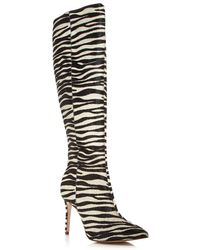 Aqua Women's Indiala Zebra Print Calf Hair Pointed - Toe High - Heel Boots - Black