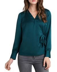 Vince Camuto Long Sleeve Wrap Front Shirt - Multicolor