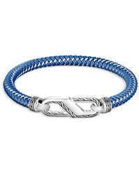 John Hardy Sterling Silver Classic Woven Blue Rubber Carabiner Clasp Bracelet