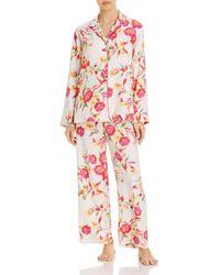 Natori Seville Floral Satin Pajama Set - Pink