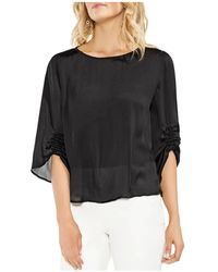 Vince Camuto - Smocked Detail Satin Top - Lyst