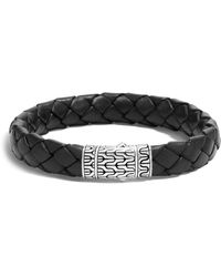 John Hardy - Men's Classic Chain Woven Leather & Silver Medium Bracelet - Lyst