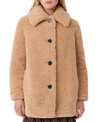 Maje Gatino Faux Fur Coat - Brown