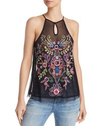 Guess - Cassia Embroidered Mesh Top - Lyst