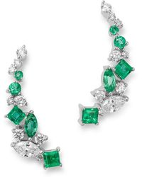 Bloomingdale's Diamond & Emerald Climber Earrings In 14k White Gold - Green