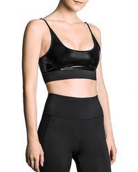 Heroine Sport Breath Faux Leather Sports Bra - Black