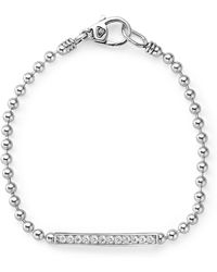 Lagos Sterling Silver Caviar Spark Diamond Link Bracelet - Metallic