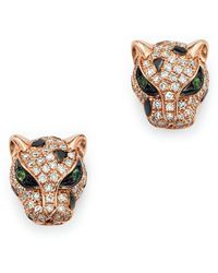 Bloomingdale's - Diamond And Tsavorite Panther Studs In 14k Rose Gold - Lyst