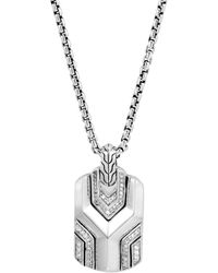 John Hardy Sterling Silver Diamond Asli Classic Chain Dog Tag Necklace - Metallic