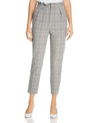 Cupcakes And Cashmere Lindley Check High - Waist Paperbag Pants - Gray