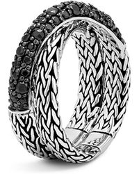 John Hardy | Sterling Silver Classic Chain Overlap Ring With Black Sapphire | Lyst
