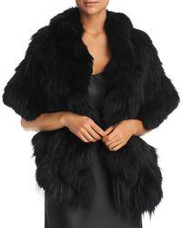 Maximilian Ruffled Fox Fur Knit Stole - Black