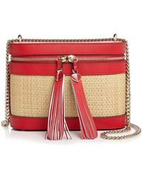 Kate Spade Small Leather & Raffia Convertible Crossbody - Red