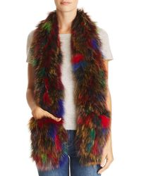 Jocelyn Knit Fox Fur Pocket Scarf - Multicolour