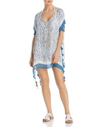 Surf Gypsy Candy Vintage Baroque Print Swim Cover - Up - Blue