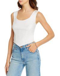 Aqua Faux - Leather Sleeveless Top - White