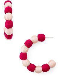 Aqua - Ball Hoop Earrings - Lyst