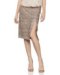 BCBGMAXAZRIA Faux - Leather Snake Print Pencil Skirt - Multicolor