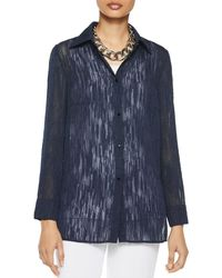 Misook Luster Accent Sheer Crepe Blouse - Blue